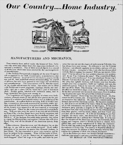 An 1824 campaign broadside for Henry Clay portraying Andrew Jackson as an opponent of the protective tariff and an enemy of working men and manufacturers.