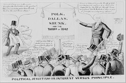 A Whig political cartoon criticizing the Polk administration for betraying the tariff of 1842.