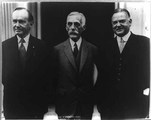 President Calvin Coolidge, Secretary of the Treasury Andrew Mellon, and Secretary of Commerce Herbert Hoover. Photo courtesty of the Library of Congress.