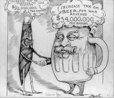 Cartoon commenting on excise tax increases during the Spanish-American War, 1898.